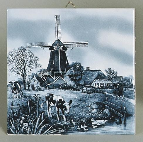 Delft Wall Plaque Four Seasons Spring - Collectibles, CT-210, Decorations, Dutch, Home & Garden, Tiles-Scenic, Van Hunnik, Windmills