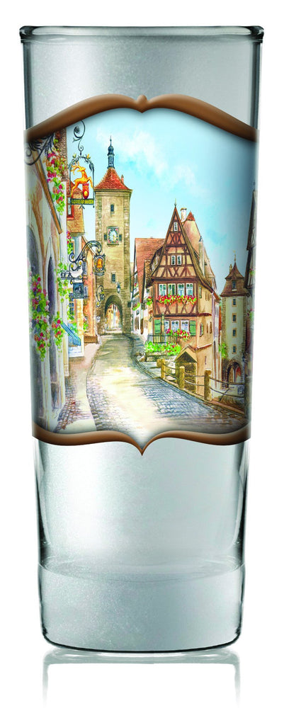 German Glass Oktoberfest Shooter Village Dancers - Alcohol, Barware, Clear, Collectibles, Drinkware, European, Frosted, German, Germany, Glass, Home & Garden, PS- Oktoberfest Party Favors, PS-Party Favors, PS-Party Favors German, Shot Glasses, Shots-Glass, SY: Grouchy German, Tableware