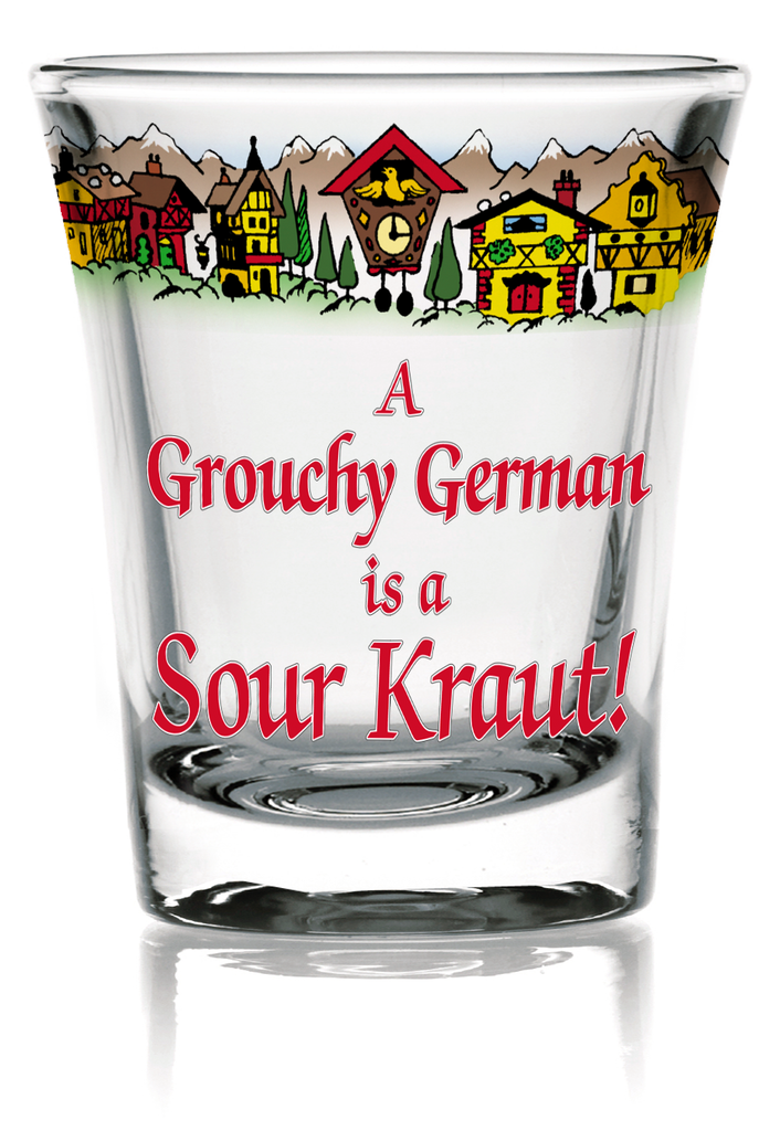Oktoberfest German Party Favor Shot Glass: Grouchy German Frosted - Alcohol, Barware, Clear, Collectibles, Drinkware, Frosted, German, Germany, Glass, Home & Garden, PS- Oktoberfest Party Favors, PS-Party Favors, PS-Party Favors German, Shot Glasses, Shots-Glass, SY: Grouchy German, Tableware, Top-GRMN-B