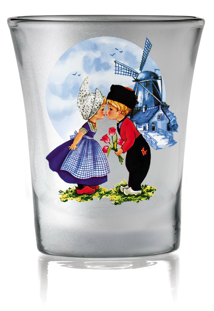 Dutch Kiss Frosted Shot Glass - Alcohol, Barware, Clear, Collectibles, Drinkware, Dutch, Frosted, Glass, Home & Garden, Kissing Couple, PS-Party Favors, PS-Party Favors Dutch, Shot Glasses, Shots-Glass, Tableware, Top-DTCH-B, Tulips