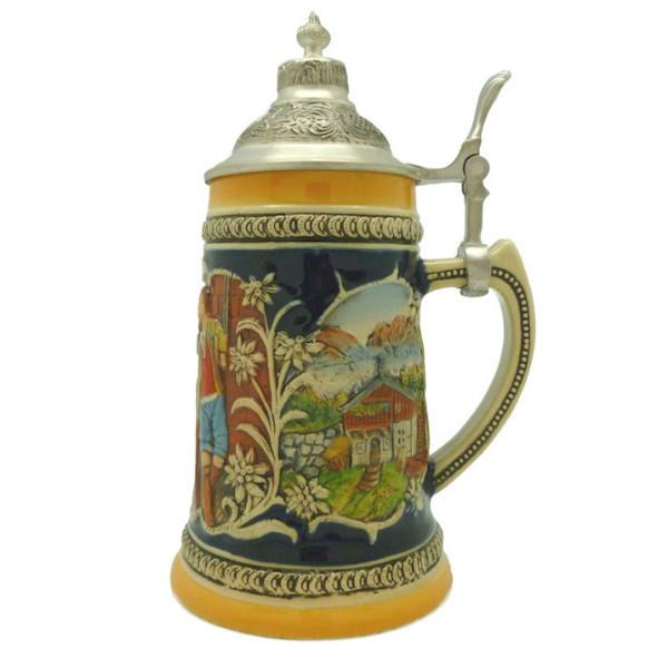 German Alpine Pub Engraved Beer Stein with Metal Lid - .7L, Alcohol, Barware, Beer Glasses, Beer Stein-with Lid, Beer Stein-with Lid-EHG, Beer Steins, Coffee Mugs, Collectibles, Decorations, Drinkware, German, Germany, Home & Garden, Multi-Color