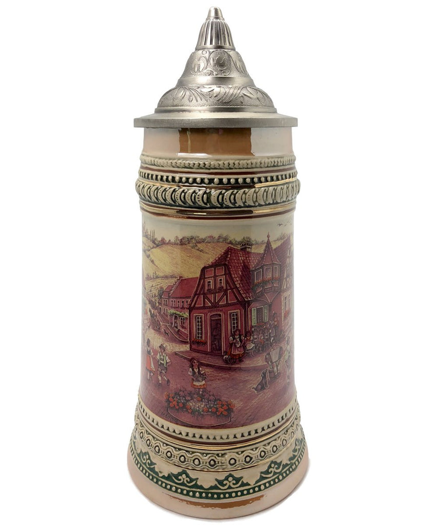 1 Liter German Village Dancers Beer Stein with Metal Lid -2