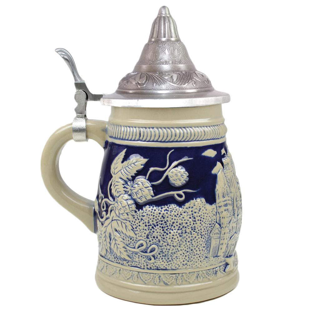 Cobalt Blue Landmarks of Berlin .75L Lidded Beer Stein -3