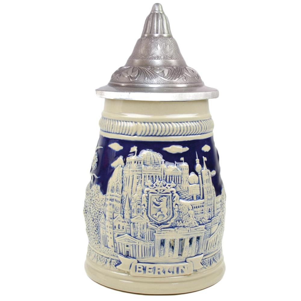 Cobalt Blue Landmarks of Berlin .75L Lidded Beer Stein -2