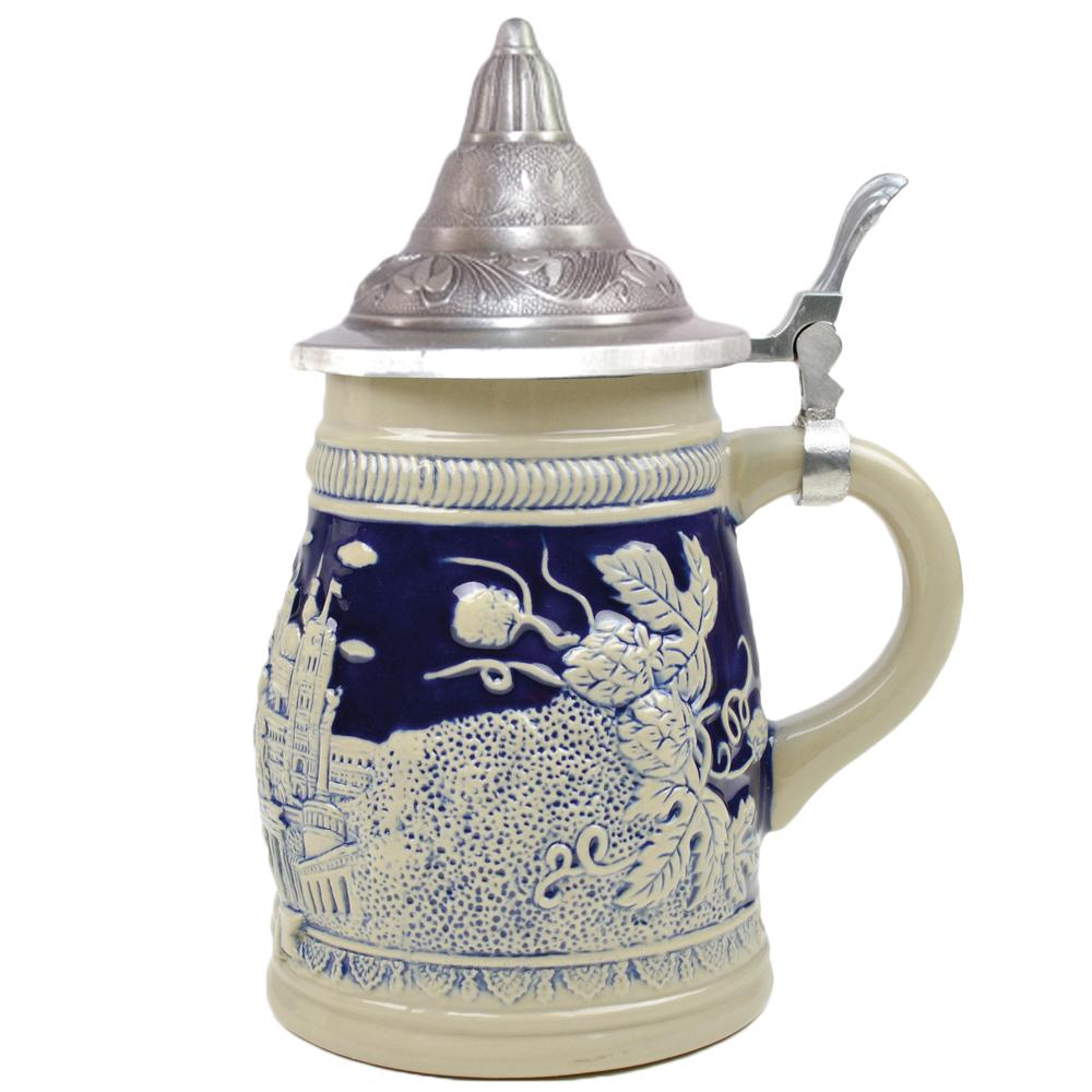 Cobalt Blue Landmarks of Berlin .75L Lidded Beer Stein 1