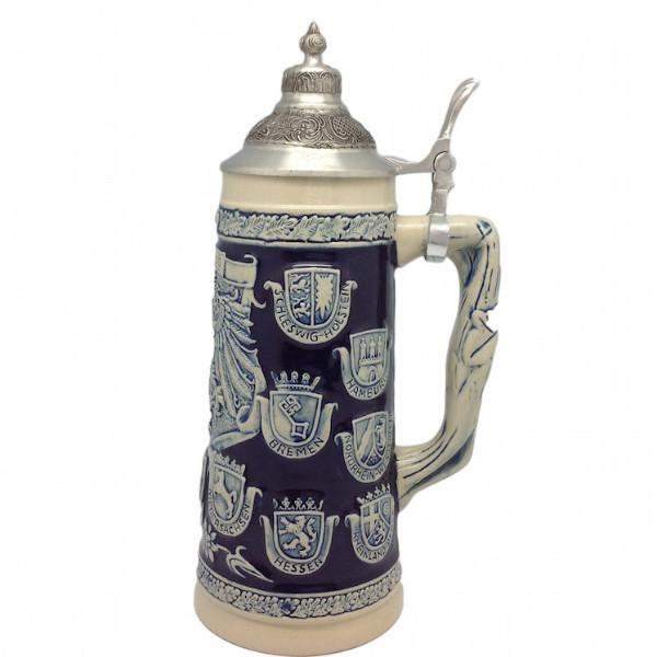Cobalt Blue Germany Coats of Arms Engraved Beer Stein with Metal Lid - 1.1L, Alcohol, Barware, Beer Glasses, Beer Stein-with Lid, Beer Stein-with Lid-EHG, Beer Steins, Blue, Coffee Mugs, Collectibles, Decorations, Drinkware, German, Germany, Home & Garden, Top-GRMN-A