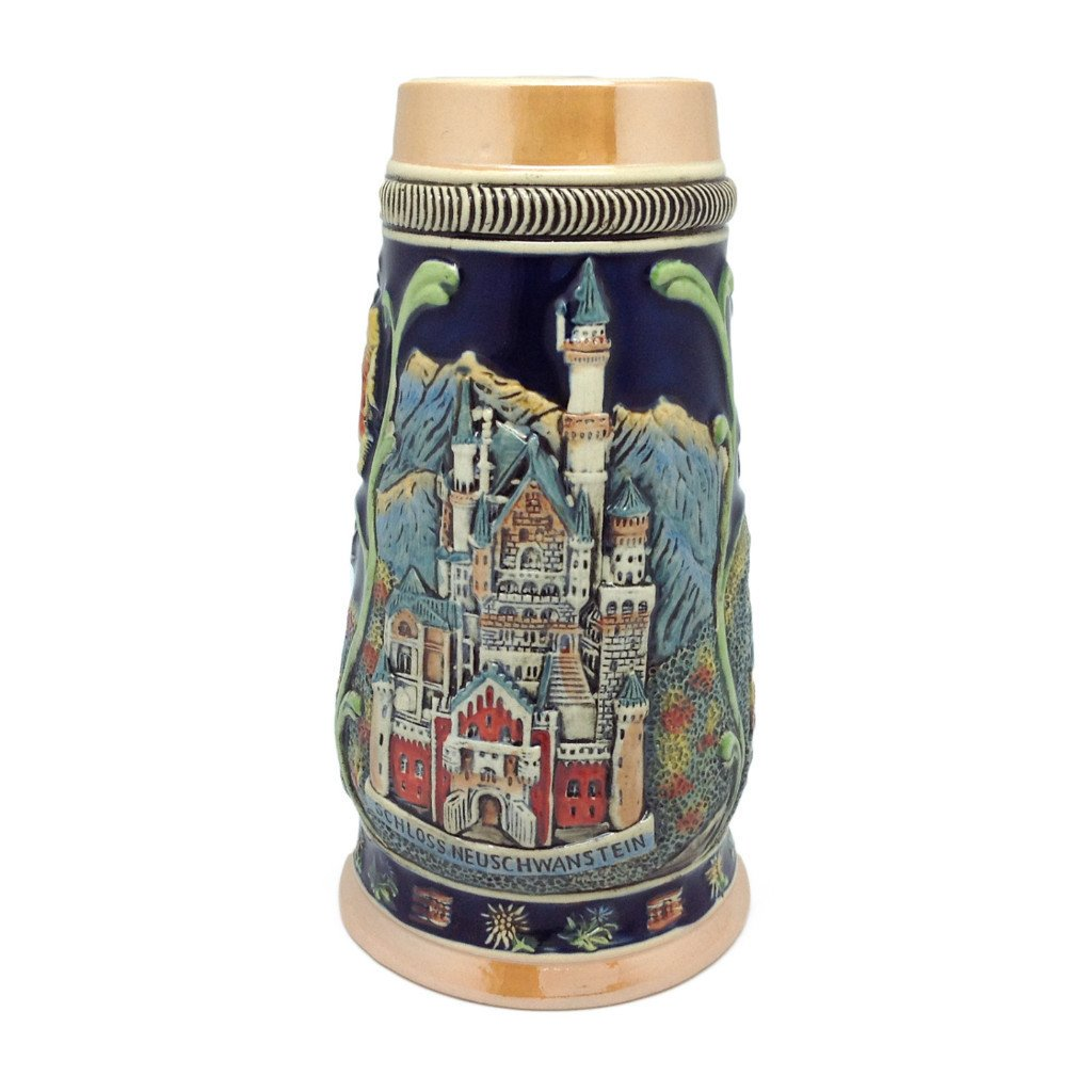 Highlights of Germany Collectible Beer Stein - .75L, Alcohol, Barware, Beer Glasses, Beer Stein-No Lid, Beer Stein-No Lid-EHG, Beer Steins, Coffee Mugs, Collectibles, Decorations, Drinkware, German, Germany, Home & Garden, Ludwigs Castle, Multi-Color - 2