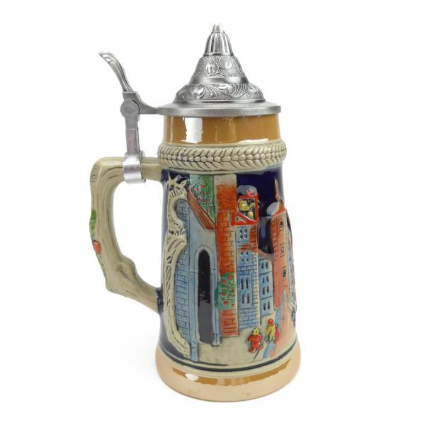 German Village Street Scene .75L Lidded Stein -2