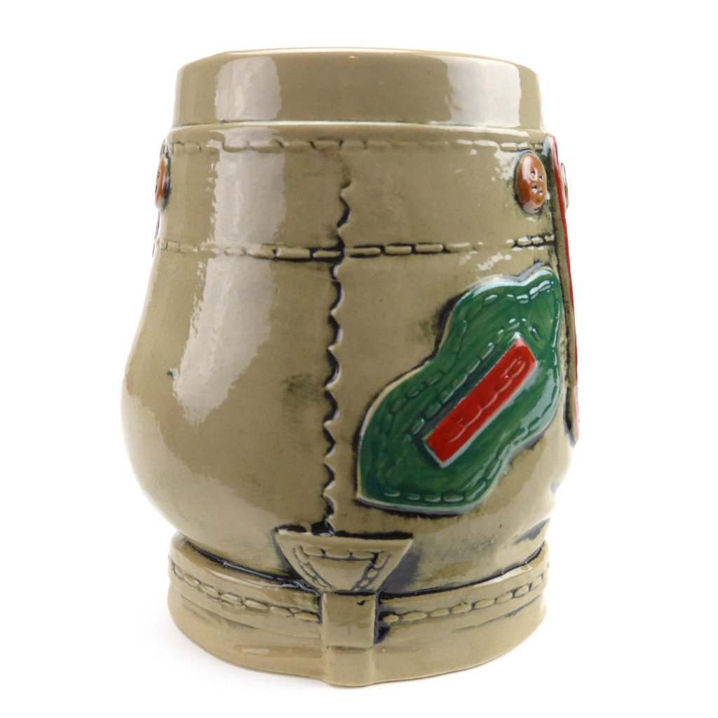 German Lederhosen Ceramic Beer Stein - .55L, Alcohol, Barware, Beer Glasses, Beer Stein-No Lid, Beer Stein-No Lid-EHG, Beer Steins, Coffee Mugs, Collectibles, Decorations, Drinkware, German, Germany, Home & Garden, Multi-Color - 2 - 3