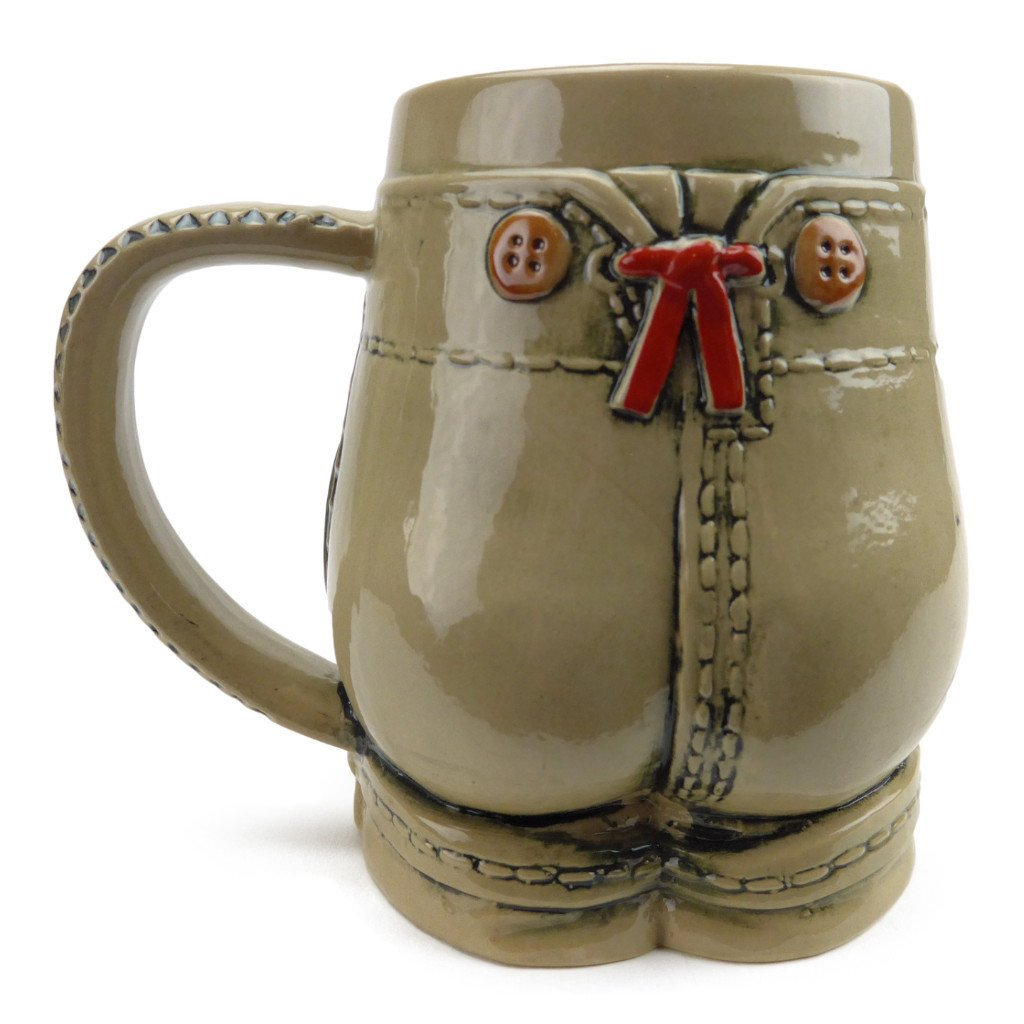 German Lederhosen Ceramic Beer Stein - .55L, Alcohol, Barware, Beer Glasses, Beer Stein-No Lid, Beer Stein-No Lid-EHG, Beer Steins, Coffee Mugs, Collectibles, Decorations, Drinkware, German, Germany, Home & Garden, Multi-Color - 2