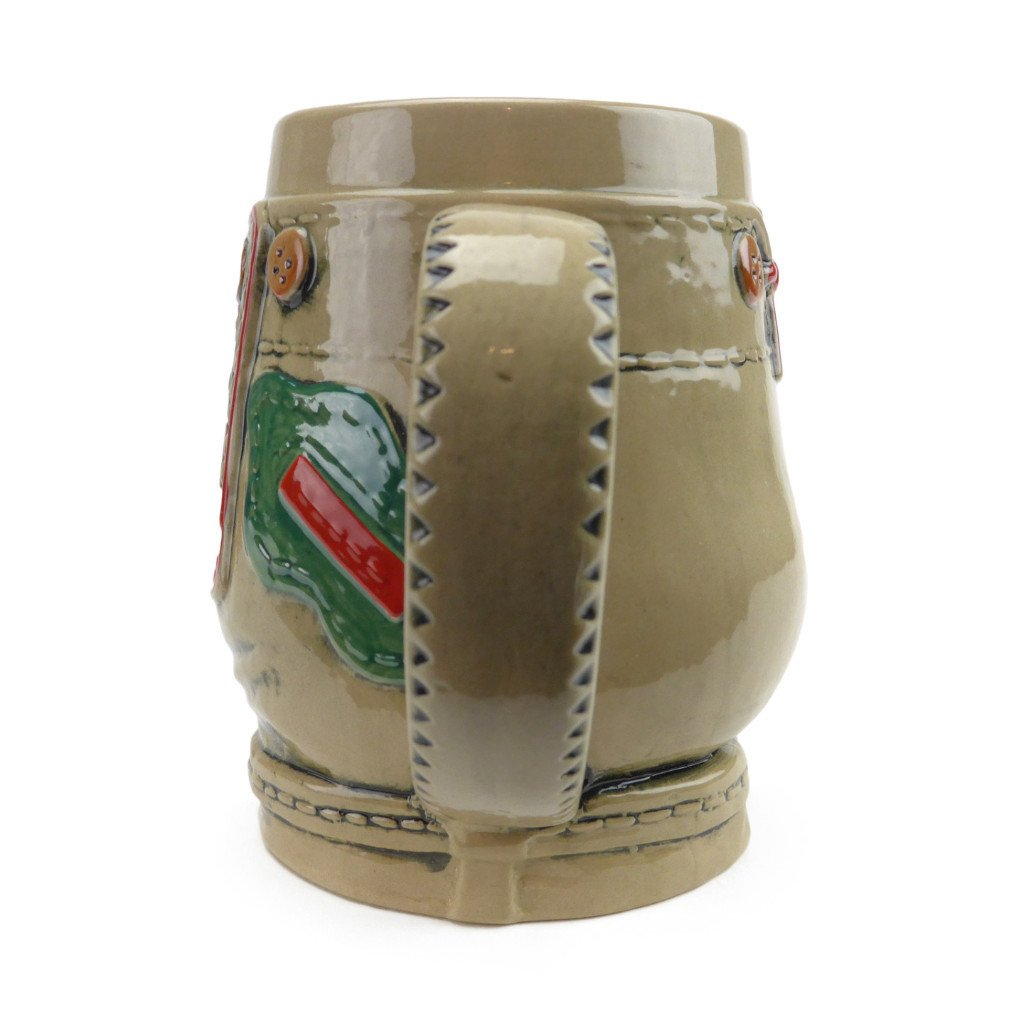 German Lederhosen Ceramic Beer Stein - .55L, Alcohol, Barware, Beer Glasses, Beer Stein-No Lid, Beer Stein-No Lid-EHG, Beer Steins, Coffee Mugs, Collectibles, Decorations, Drinkware, German, Germany, Home & Garden, Multi-Color - 2 - 3 - 4