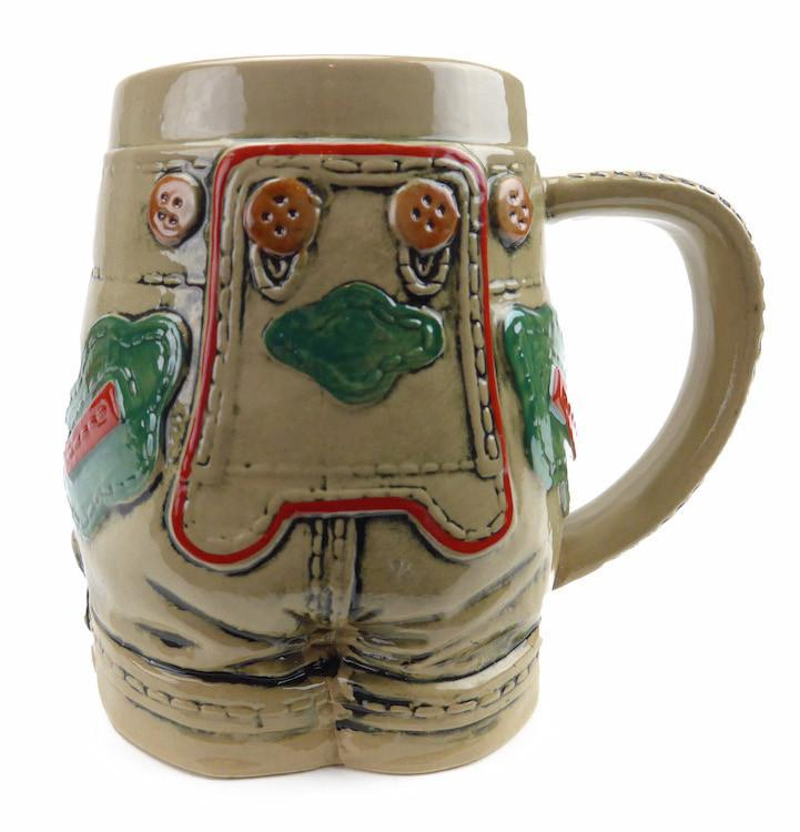 German Lederhosen Ceramic Beer Stein - .55L, Alcohol, Barware, Beer Glasses, Beer Stein-No Lid, Beer Stein-No Lid-EHG, Beer Steins, Coffee Mugs, Collectibles, Decorations, Drinkware, German, Germany, Home & Garden, Multi-Color
