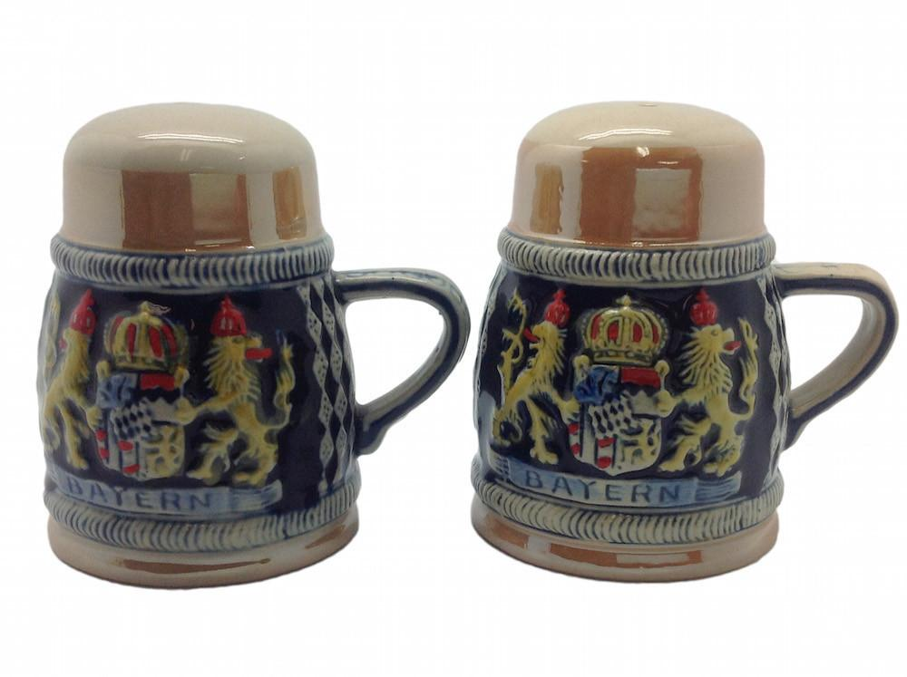 Bayern Coat of Arms Engraved Beer Stein Salt & Pepper Set - Alcohol, Barware, Bayern, Beer Glasses, Coffee Mugs, Collectibles, CT-526, Decorations, Drinkware, German, Germany, Home & Garden, Kitchen Decorations, Multi-Color, PS- Oktoberfest Essentials-All OKT Items, PS- Oktoberfest Table Decor, PS-Party Favors, S&P Sets, S&P Sets-German, Tableware, Top-GRMN-A - 2 - 3 - 4 - 5 - 6 - 7