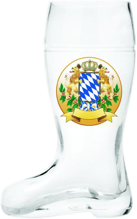 Glass Beer Boot: Bayern Crest - .6L, 1L, alcohol, Barware, Bayern, Beer Glasses, Beer Steins-Boots, Clear, Coffee Mugs, Collectibles, Drinkware, German, Germany, Glass, Home & Garden, New Products, NP Upload, Top-GRMN-B, Volume, Yr-2015