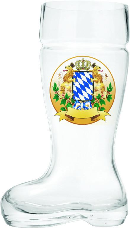 Glass Beer Boot: Bayern Crest - .6L, 1L, alcohol, Barware, Bayern, Beer Glasses, Beer Steins-Boots, Clear, Coffee Mugs, Collectibles, Drinkware, German, Germany, Glass, Home & Garden, New Products, NP Upload, Top-GRMN-B, Volume, Yr-2015 - 2