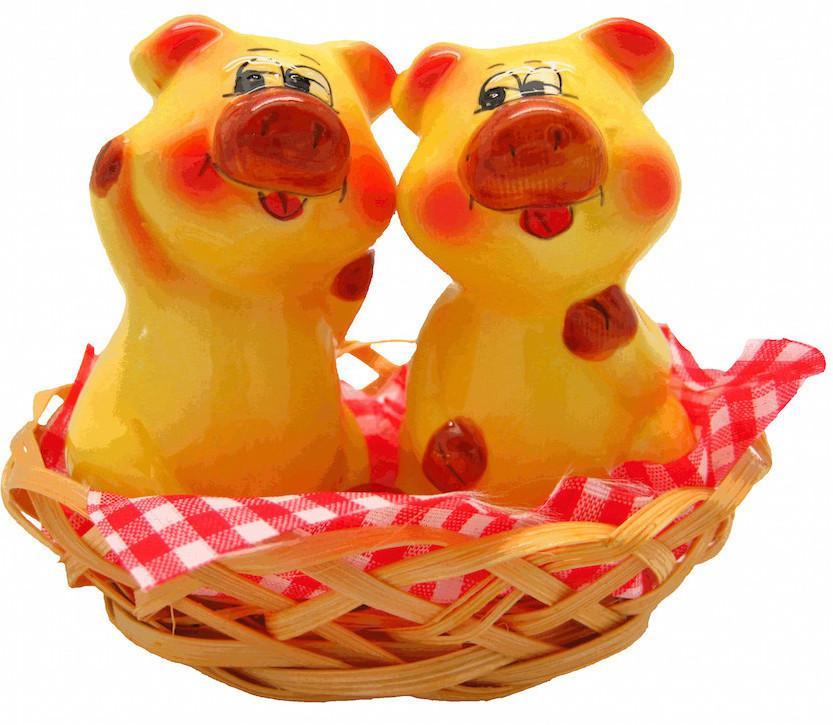 Animal Salt & Pepper Shakers Pigs Basket - AN: Pigs, Animal, Collectibles, Decorations, General Gift, Home & Garden, Kitchen Decorations, PS-Party Favors, S&P Sets, S&P Sets-General Gift, Tableware