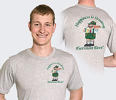 German T Shirt  inchesHappiness Is Drinking German Beer inches - Alcohol, Apparel- T Shirts, Apparel-Costumes, Apparel-Shirt-German, German, Germany, Grey, L, M, Size, SY: Drinking German Beer, Top-GRMN-B, XL, XXL, XXXL - 2