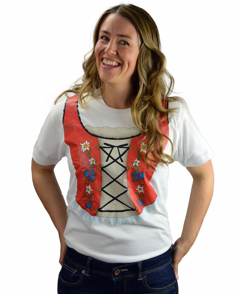 Oktoberfest T Shirt German Dirndl Design - Apparel- Costumes - German - Womens, Apparel- T Shirts, Apparel-Costumes, Apparel-Shirt-German, German, Germany, L, M, Oktoberfest, S, Size, Top-GRMN-B, White, XL, XXL