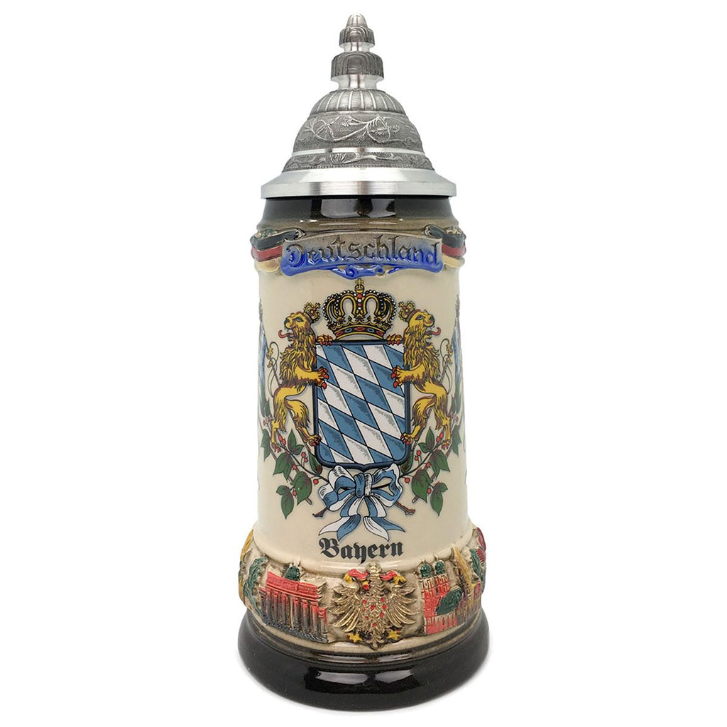 Classic Zoller & Born Bayern Flag .75L German Beer Stein -1