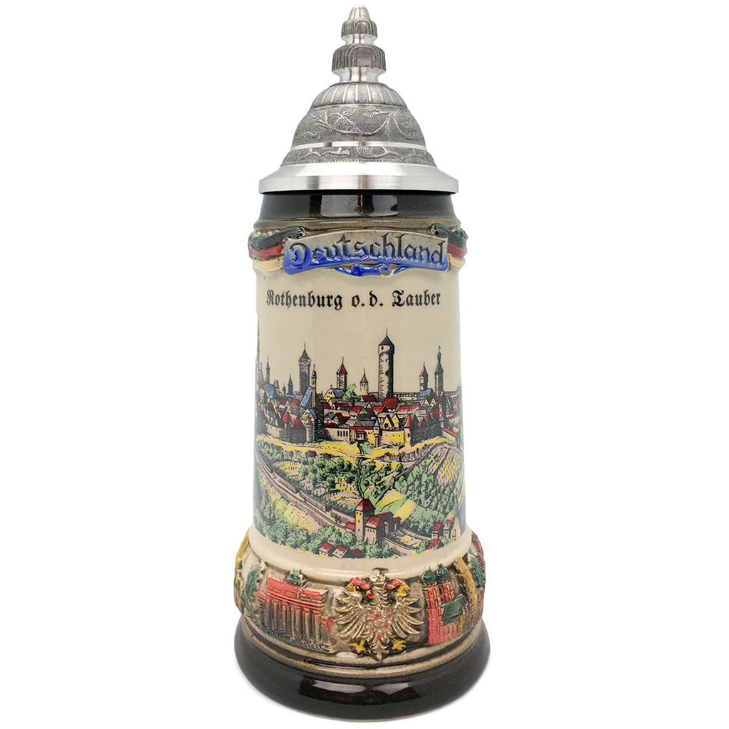 Classic Zoller & Born Rothenburg Flag .75L German Beer Stein -1