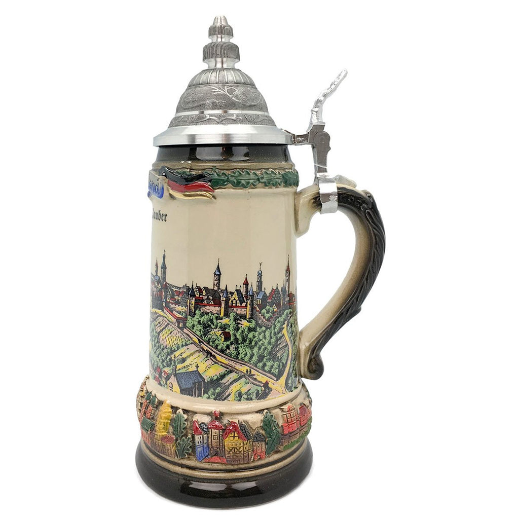 Classic Zoller & Born Rothenburg Flag .75L German Beer Stein -2