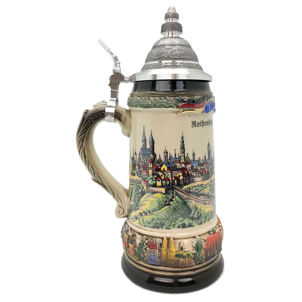 Classic Zoller & Born Rothenburg Flag .75L German Beer Stein -3