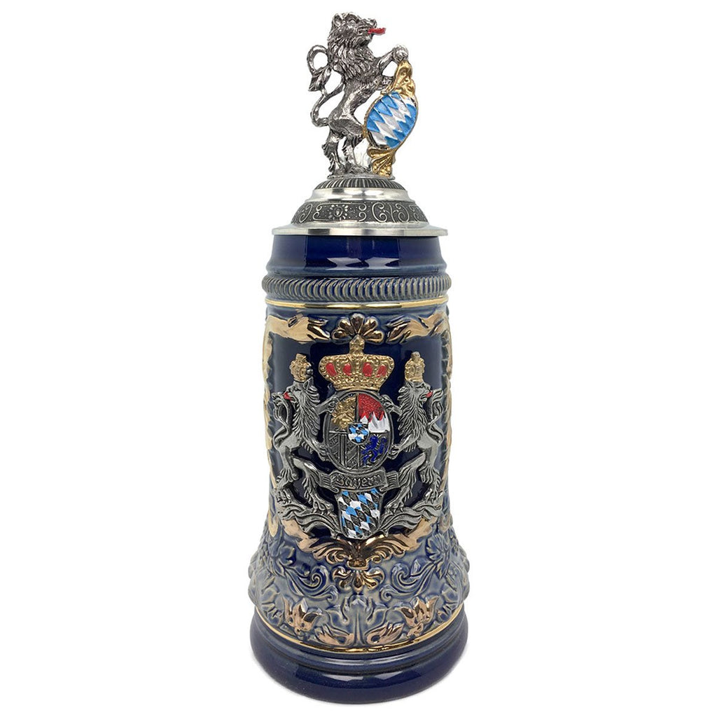 Regal Lion Lid Bayern Coat of Arms Zoller & Born .75L Stein -1
