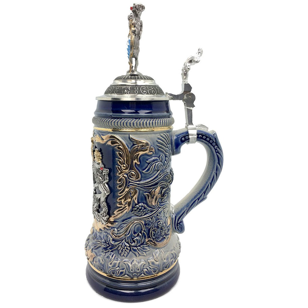 Regal Lion Lid Bayern Coat of Arms Zoller & Born .75L Stein -2
