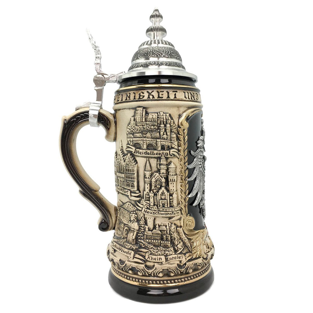 Deutschland Eagle Medallion Rustic 1.4L  German Beer Stein -3