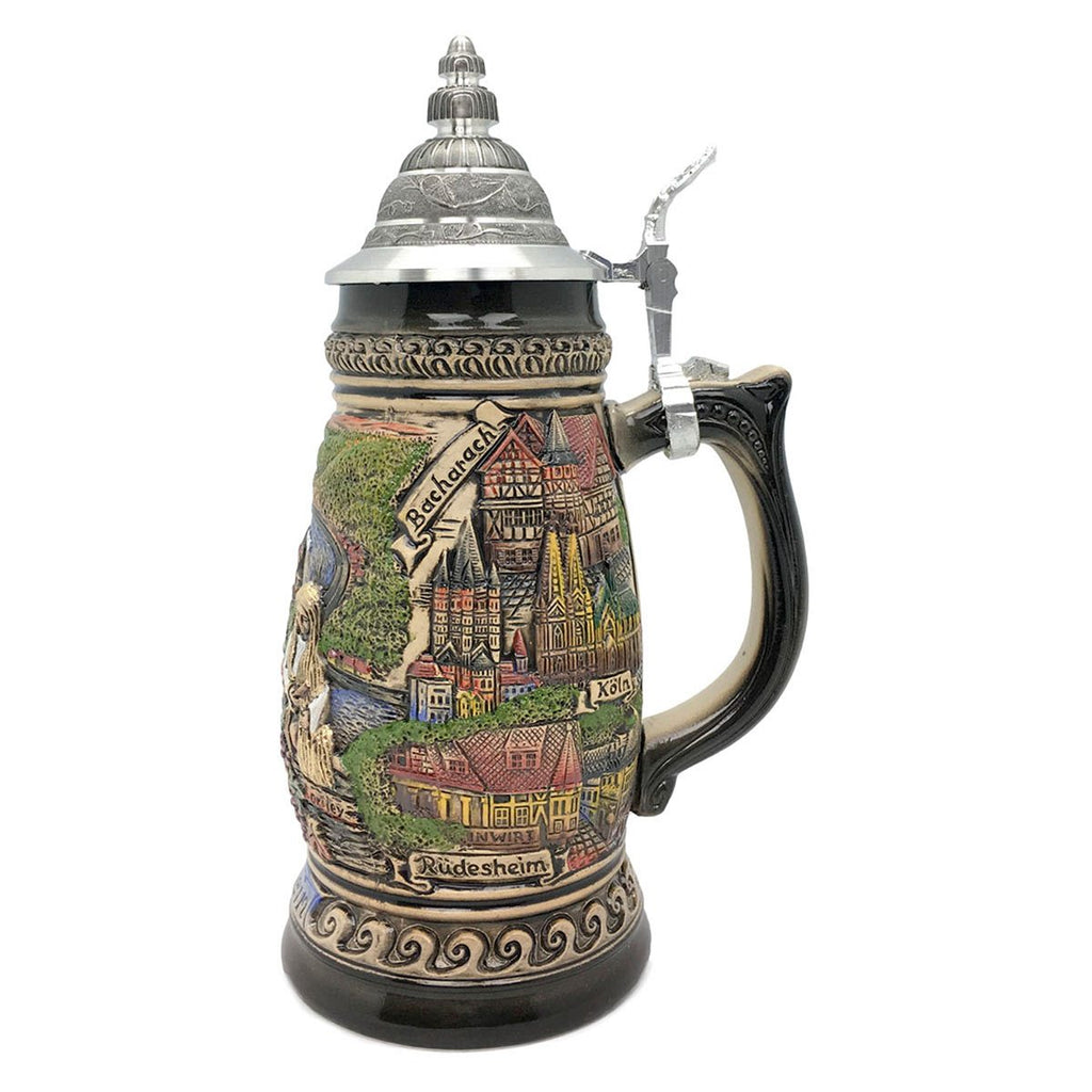 Rhein Panorama  1.1L Made In Germany Zoller & Born Beer Stein -2