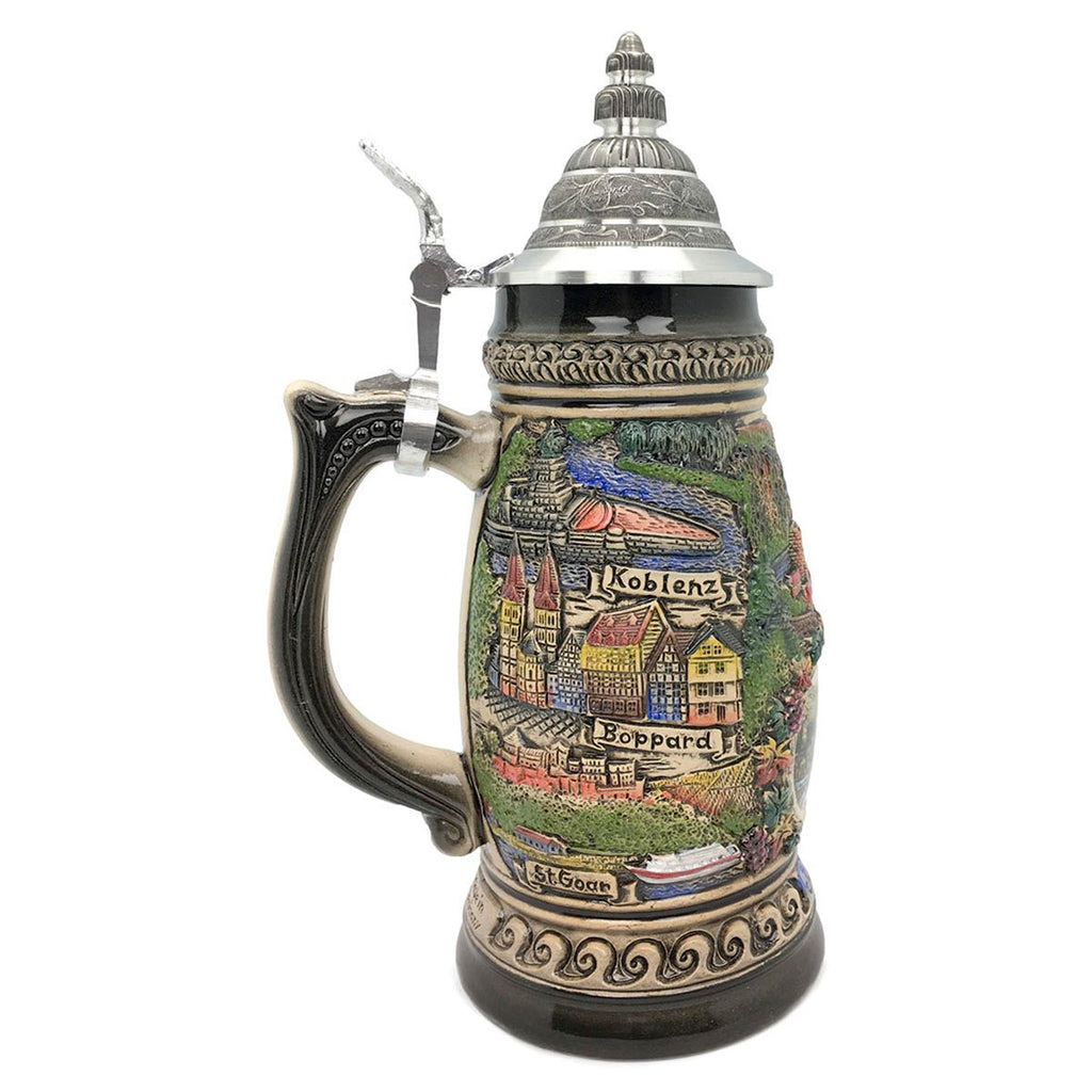 Rhein Panorama  1.1L Made In Germany Zoller & Born Beer Stein -3