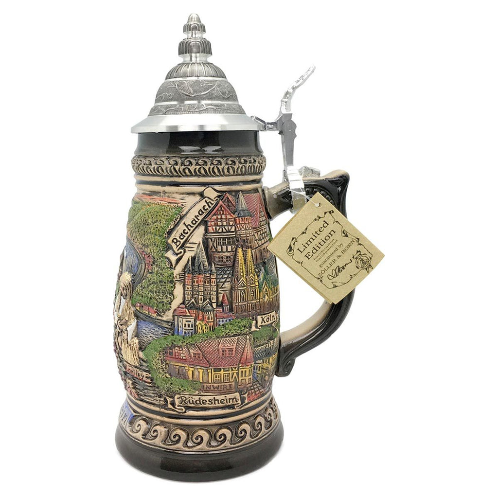 Rhein Panorama  1.1L Made In Germany Zoller & Born Beer Stein -5