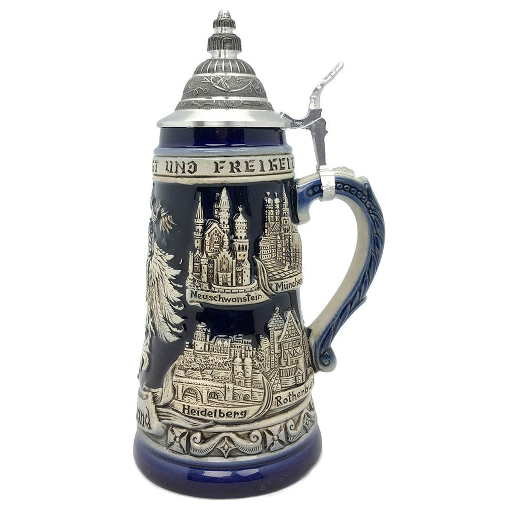 Zoller & Born Adler & Deutschland 1L Cobalt Blue Made In Germany Beer Stein -2