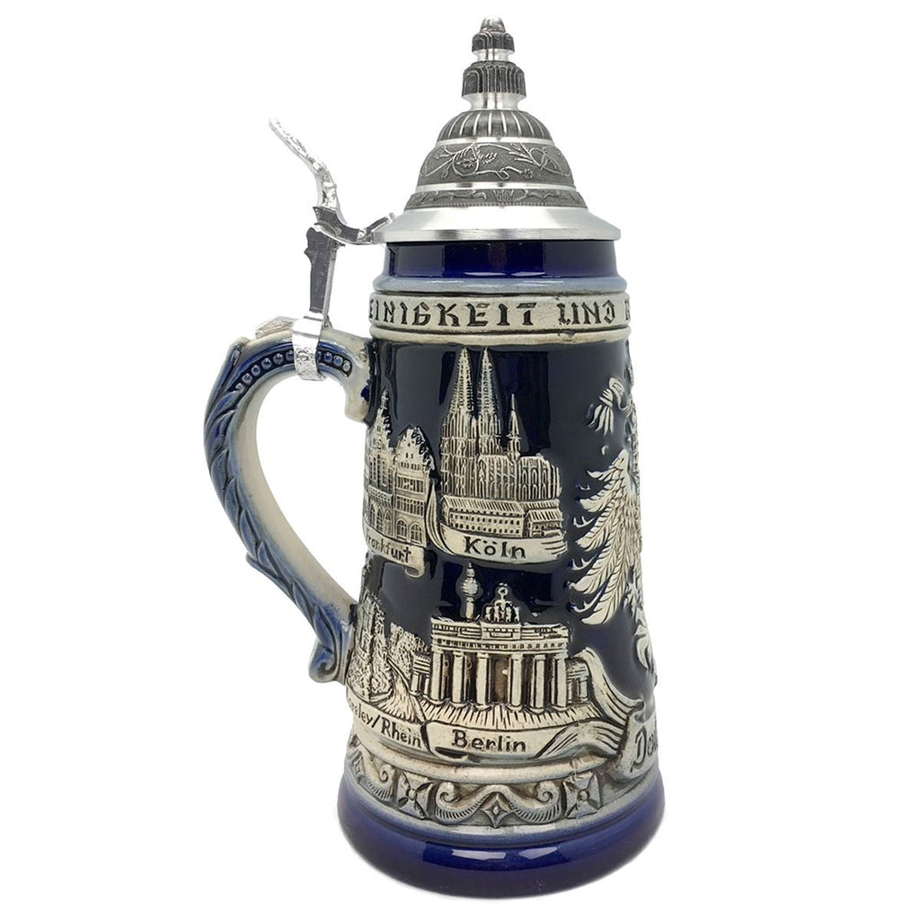 Zoller & Born Adler & Deutschland 1L Cobalt Blue Made In Germany Beer Stein -3