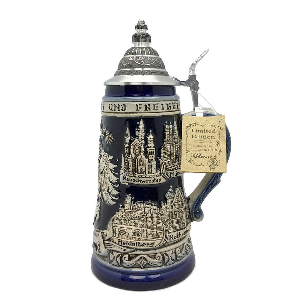 Zoller & Born Adler & Deutschland 1L Cobalt Blue Made In Germany Beer Stein -5