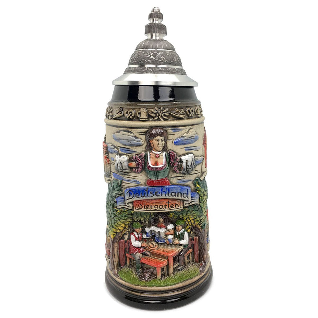 Biergarten 1L Zoller & Born Black Motif German Beer Stein -1