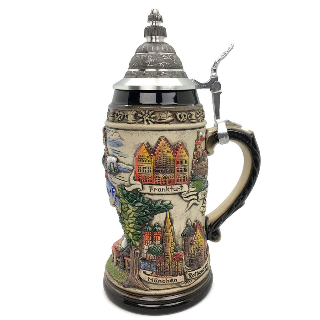 Biergarten 1L Zoller & Born Black Motif German Beer Stein -2