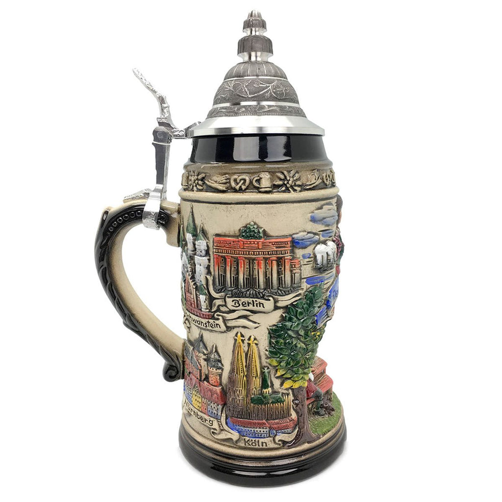 Biergarten 1L Zoller & Born Black Motif German Beer Stein -3