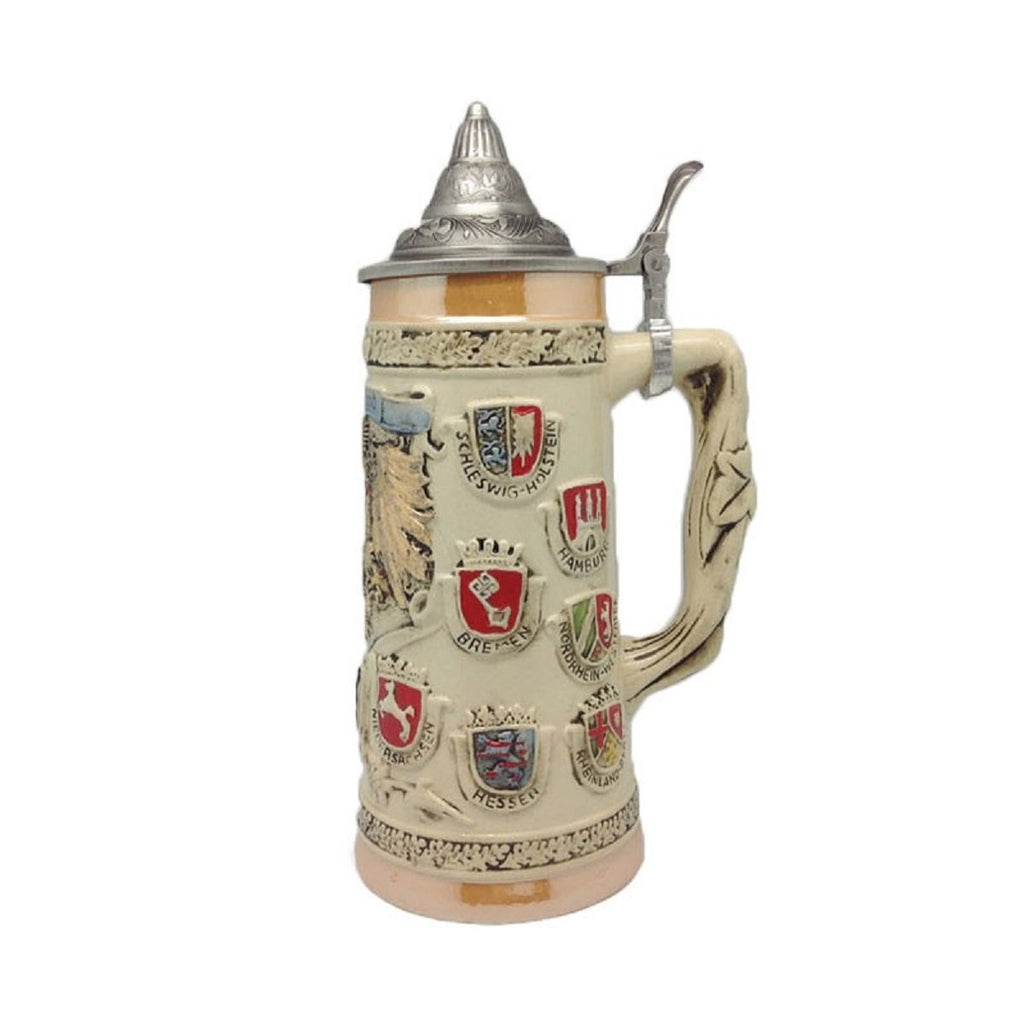S4223: STEIN:COAT/ ARMS/ WHITE/ LID
