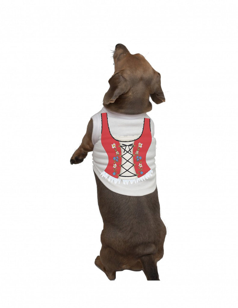 German Dog T Shirt: Dirndl - Apparel- Costumes - German - Womens, Apparel- T Shirts, Apparel-Costumes, Apparel-Dogs, Apparel-Shirt-German, German, Germany, L, M, Size, Top-GRMN-B, White