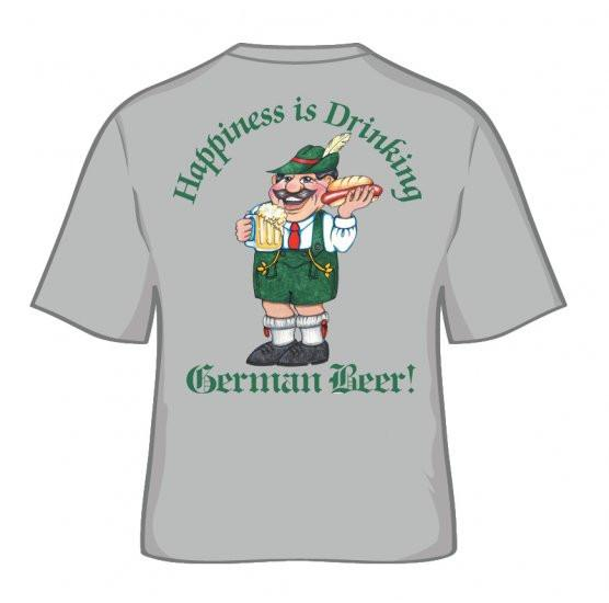 German T Shirt  inchesHappiness Is Drinking German Beer inches - Alcohol, Apparel- T Shirts, Apparel-Costumes, Apparel-Shirt-German, German, Germany, Grey, L, M, Size, SY: Drinking German Beer, Top-GRMN-B, XL, XXL, XXXL