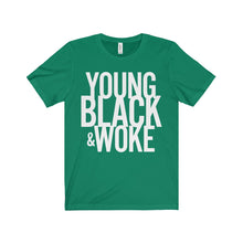 Young Black & Woke White Text Unisex Jersey Short Sleeve Tee