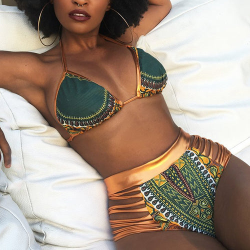 African Print Two-Pieces Bathing Suits 2017 Bikini Set Sexy Geometric Swimwear Swimsuit Gold High Waist Swimming Suit Sports Bra