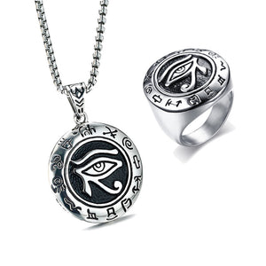 Eye Of Ra Pendant Necklace Ring Men Jewelry Set