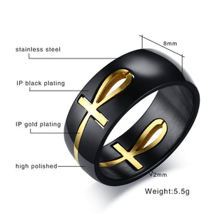 Ankh Egyptian Cross Ring Personalized Black Color Stainless Steel Key of Life Wedding Bands Jewelry
