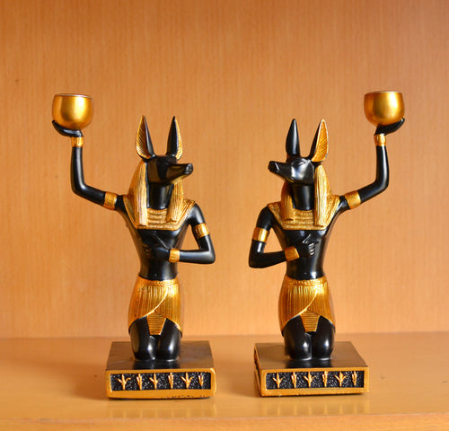 Dog God Anubis Figurines Desktop Creative Candle Holder