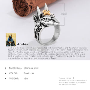 OPK Punk Anubis Egyptian Cross Beast Ring For Men Stainless Steel Ankh Cross Design Animal Finger Ring Cool Jewelry Gift GJ626