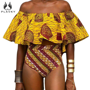 African Bathing Suit Swimsuit Swimwear Women High Waist Bikini Set