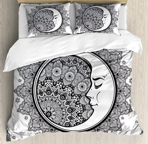 Zodiac Duvet Cover Set Intricate Boho Ethnic Mandala Form with Crescent Moon Foreground Alchemy Symbol Bedding Set