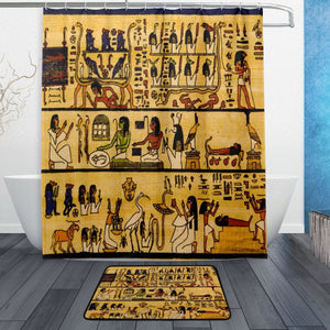 Egyptian Tribal Shower Curtain and Mat Set, Exotic Ethnic Waterproof Fabric Bathroom Curtain